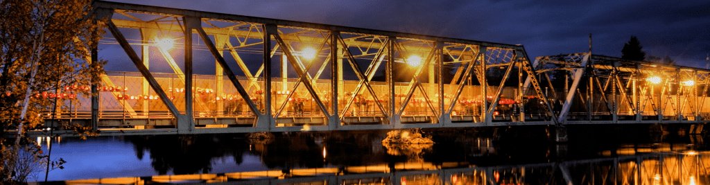 The bridge filled with jack-o-lanterns during Berlin, NH's RiverFire event